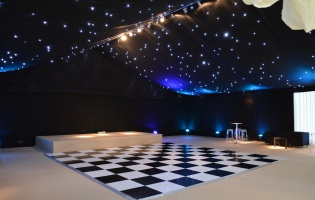 Clearspan Marquees - inside, black linings and dancefloor