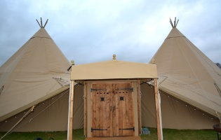 Giant Tipis - sides down, traditional