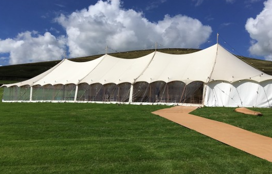 Traditional Canvas Marquee - wooden finials